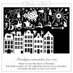 feestdagen-raamsticker Amsterdamse huisjes