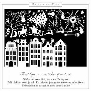 Feestdagen statisch hechtende raamsticker set sinterklaas kerst en nieuwjaar