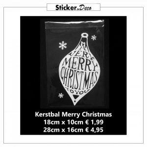 Kerstbal Merry Christmas Herbruikbare raamsticker statisch hechtend