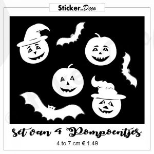 Halloween Pompoen set Herbruikbare raam sticker