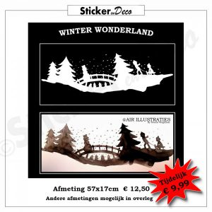 Winterwonderland raamsticker kerst winter Air Illustraties