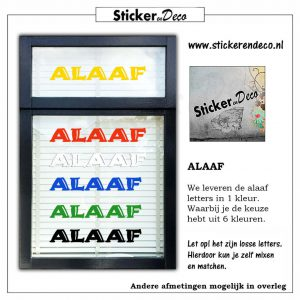 ALAAF letters raamsticker herbruikbaar k