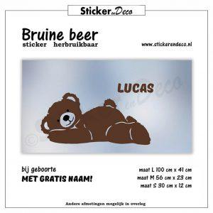 Bruine Beer statische raamsticker herbruikbare vinyl