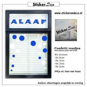 Confetti Rondjes a4 blauw wit raamsticker herbruikbaar