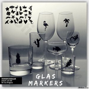 Glasmarkers zwart wit herbruikbare sticker