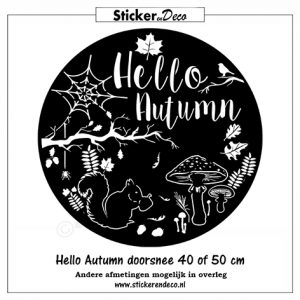 Raamsticker hello autumn rond
