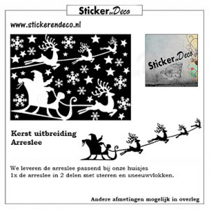 Raamsticker Kerst Arreslee uitbreiding set herbruikbare vinyl