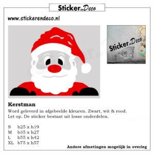 Santa Claus kerstman Gluur kerstmannetje raamsticker herbruikbaar