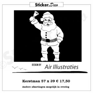 Kerstman air illustraties raamsticker