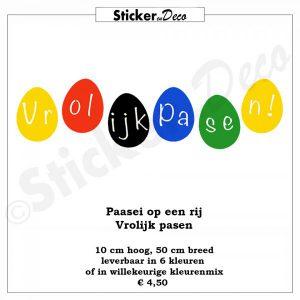 Paasei op een rij raamstickers kleurenmix