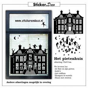 Raamsticker Pietenhuis herbruikbare raamsticker sinterklaas