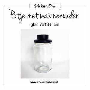 Potje met waxinehouder glas 7x13,5