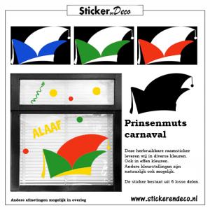 Carnaval Prinsenmuts van herbruikbare raamsticker