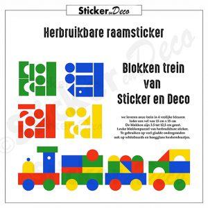 Blokken trein raamsticker herbruikbare raamfolie