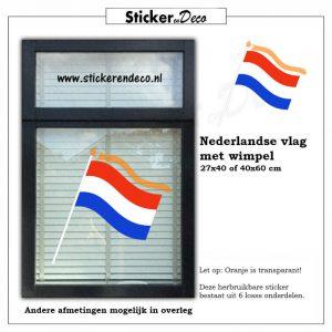 Nederlandse vlag met wimpel Raamsticker