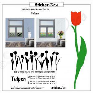 Raamsticker Tulpen set herbruikbaar