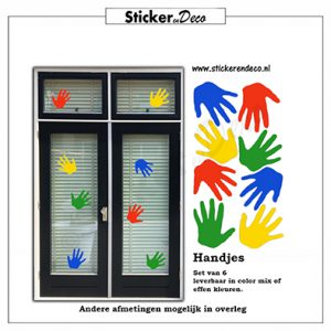 Raamsticker handjes van herbruikbare vinl kleur