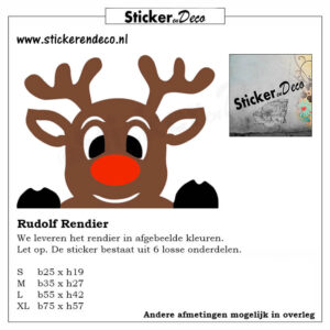 Rudolf het rendier gluur rendier raamsticker herbruikbaar Rudolph the Red-Nosed Reindeer