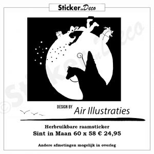 Sint in Maan Air Illustraties Raamsticker