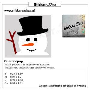 Mr. Snowman gluur Sneeuwpop raamsticker herbruikbaar