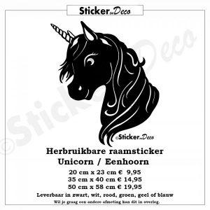 Unicorn Eenhoorn raamsticker herbruikbaar
