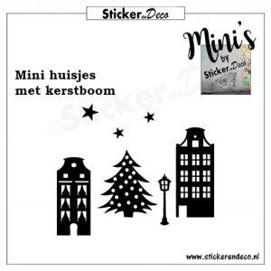 Raamsticker mini huisjes met kerstboom herbruikbare vinyl