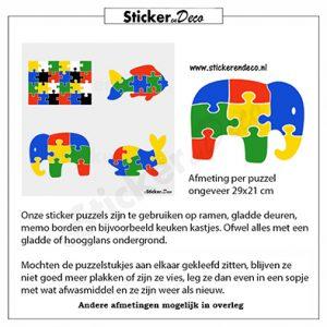 puzzel olifant raamstickerherbruikbare vinyl