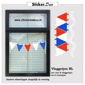 Rood wit blauwe vlaggetjes raamsticker herbruikbaar