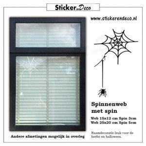 raamsticker spinnenweb met spin halloween herfst